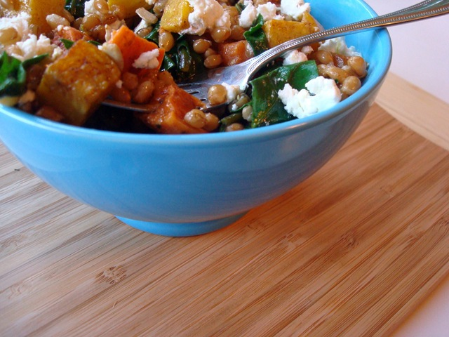 roasted root vegetable wheatberry salad.