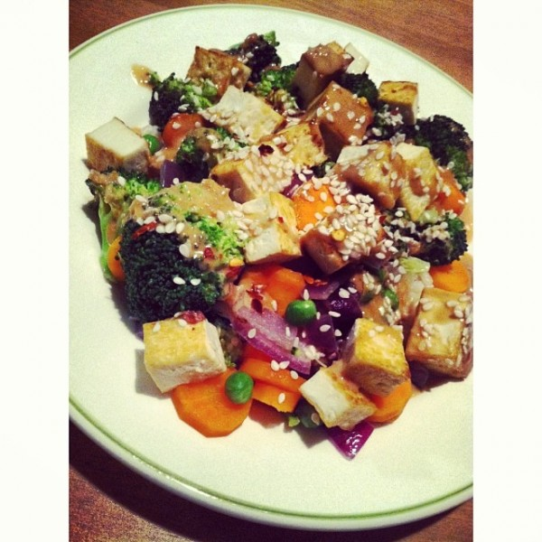 Brown Rice Stir-Fry With Flavored Tofu And Vegetables Recipes ...
