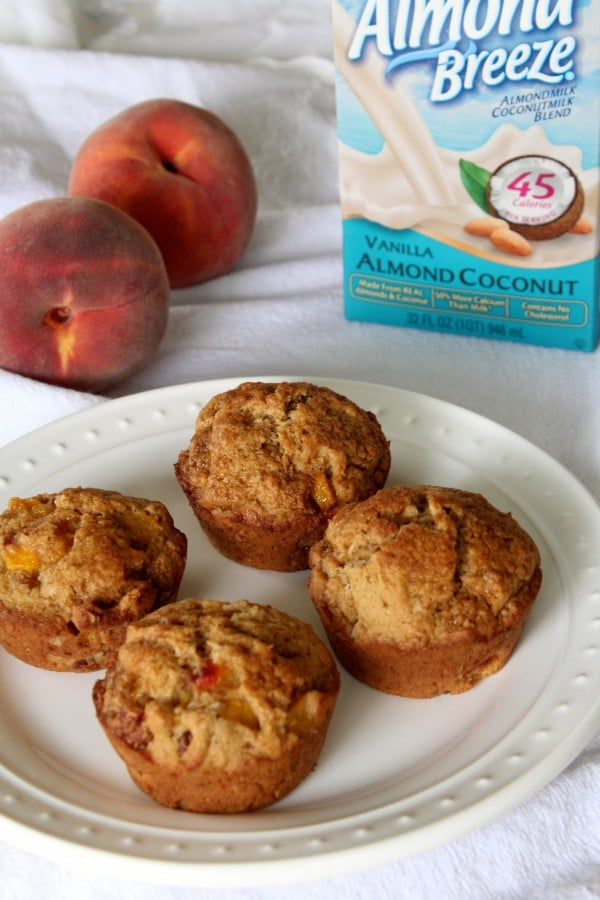 Fresh Peach Coconut Pecan Muffins