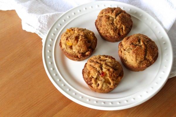Fresh Peach Coconut Pecan Muffins