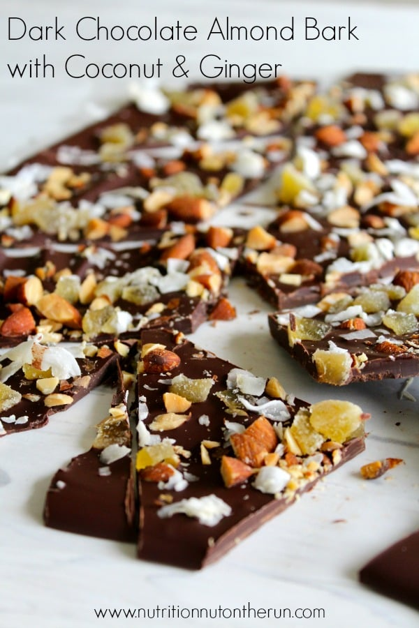Dark Chocolate Almond Bark with Coconut & Ginger