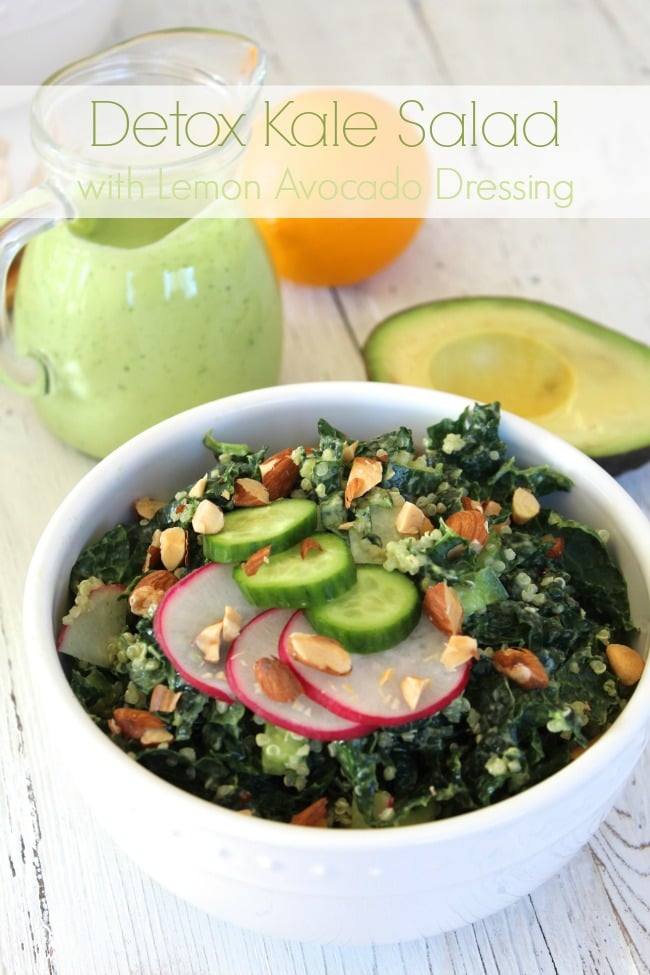 Detox Kale Salad with Lemon Avocado Dressing